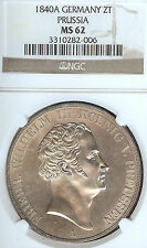 German States Prussia 1840 A 2 Taler Coin Thaler NGC MS 62 F.Stg  Deutschland