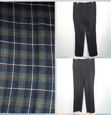 Vtg MAJER SLACKS Golf Pants 100% Wool Gordon Tartan Plaid Flat Front USA 34 x 32