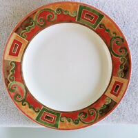 """PTS Interiors CATALINA Dinner Plate 10 5/8"""" Brown Rust Green 1 ea  10 available"""