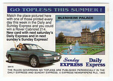 1993 Scarce Trade Card Daily Express Go Topless Week Two - Blenheim Palace