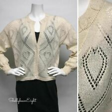 """PERUVIAN CONNECTION 100%Alpaca HEARTS Cardigan Sweater BOXY Cropped M S Chest43"""""""