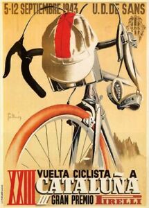 A3/A4 - 1943 Vintage Ciclista a Cataluna Cycling Travel Railway VINTAGE POSTER