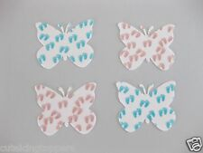 12 PRE CUT BABY SHOWER BLUE& PINK FEET EDIBLE WAFER CARD BUTTERFLY CAKE TOPPERS