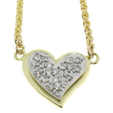 14K Yellow & White Gold 0.40ctw Pave Round Diamond Tiered Heart Pendant Necklace