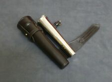NEW SADDLE HIP HUNTING STEEL FLASK BATON & BRIDLE THICK DARK BROWN LEATHER CASE