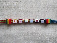 20 Personalised MULTICOLORED BEAD BRACELET Any Name Word on Rainbow Cord-PG1A