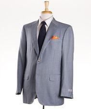 NWT $2595 CANALI EXCLUSIVE Blue-Gray Check Cashmere-Silk Sport Coat 42 R (Eu 52)