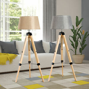 Classic Floor Lamp Light Wooden Tripod with Adjustable Height and Foot Switch