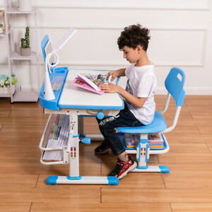 Height Adjustable Study Desk And Chair Set Pull Out Drawer With Tilted Desktop