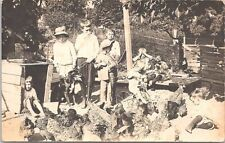 RPPC Farm Scene Boys Playing in Chicken Coop with Dog early 1900s