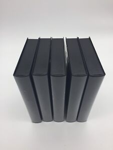 Lot of 5 NEW Black VHS Tape Storage Cases Empty Clamshell W Sleeves No Hub