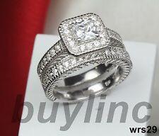 Cz Engagement Ring Wedding Ring Set 2.3C Princess Cut Vntg Pave Sterling Silver