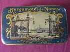 Ancienne Boîte en fer des BERGAMOTES de NANCY Place STANISLAS Signée FER EMBAL