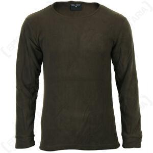 Olive Drab Round Neck Thermal Underwear Set - Winter Fleece Lining Base Layer