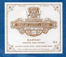 SAUTERNES 1ER GCC VIEILLE ETIQUETTE CHATEAU COUTET A BARSAC 1977 RARE §16/02/17§