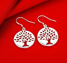 Women Fashion Jewelry 925 Sterling Silver Plated Circle Dangle Hook Earrings E11