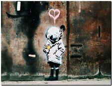 "BANKSY STREET ART *FRAMED* CANVAS PRINT Think Tank girl 24x16"" stencil -"
