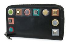 Auth FENDI Zip Around Black Leather Studs Long Wallet #39316A