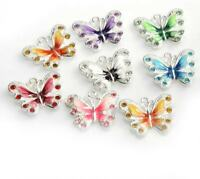 10 Butterfly Charms Silver Plated Enamel Mixed Colours Rhinestone 21mm