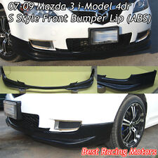 S Style Front Bumper Lip (ABS) Fits 07-09 Mazda 3 4dr i-Model