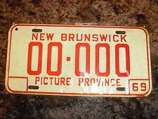 1969 NEW BRUNSWICK SAMPLE LICENSE PLATE 0000