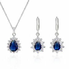 18K White Gold GP Sapphire Swarovski Crystals Set Necklace Pierced Earrings