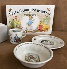 Peter Rabbit Nursery 3 pc Feeding set porcelain child cup bowl NIB vintage