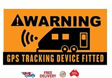Caravan Security 2 x Large Stickers WARNING GPS Tracking Device Fitted 300x150mm