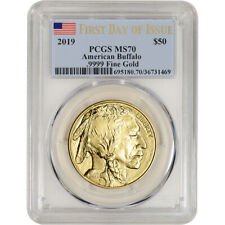 2019 American Gold Buffalo 1 oz $50 - PCGS MS70 First Day of Issue Flag Label