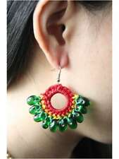 HANDCRAFTED WAX COTTON RASTA STYLE EARRINGS WITH COLORFUL green BUBBLE BEADS