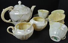 Irish Belleek 0224-3G New Shell Tea Set for 6 Handmade 15 pcs 2nd Green 1955-65