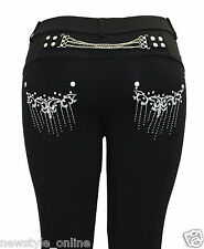 New Ladies Womens Black Stretchy Chain Zip Diamante Skinny Jeggings Jean Legging