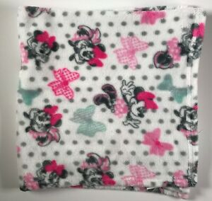 Disney Minnie Mouse Plush Pink Bows Baby Blanket Lovey Security