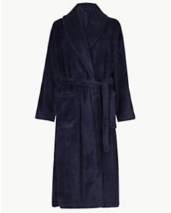 M&S COLLECTION BLUE MIX or OATMEAL MIX SUPERSOFT TEXTURED DRESSING GOWN