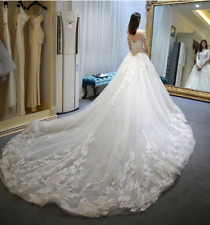 Elegant Illusion Neck Long Sleeves lace Wedding Dresses Lace-up Back Bridal Gown