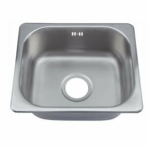 Compact Inset Single Bowl Stainless Steel Kitchen Laundry Catering Sink + Waste