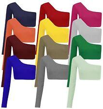 New Ladies One Shoulder Long Sleeve Crop Top Bralet Vest Tops 8-14