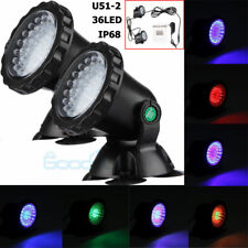 2X Multicolor 36 LED Underwater Spot Flood Light Submersible Lamp For Water Pond