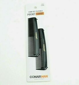 Conair Men's Pocket Comb Black 2 Pack Brushes Firm Yet Flexible