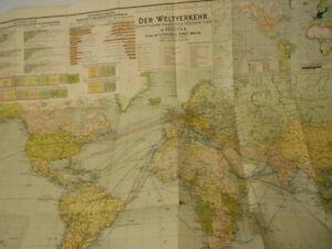 Landkarte Freytag 1902 Weltverkehr Bahn-, Dampfer-, Post- u. Telegraphen-Linien