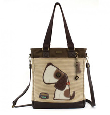 NEW CHALA BROWN TAN STRIPE TOFFY DOG WORK TOTE PURSE HANDBAG FAUX LEATHER CANVAS