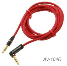 "4ft 3.5mm (1/8"") Stereo TRS Right Angle Male to Male Red Audio Cable, AV-104R"