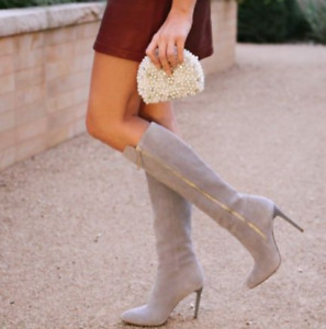 French Connection Ivory Knee High Leather Boots Monika Suede Heeled 8 41