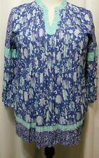 Style & Co SZ XL Blouse TunicTop Crinkle Cotton Purple Multi Floral 1100