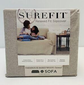 Farmhouse Basketweave Sofa Slipcover Oatmeal - Sure Fit