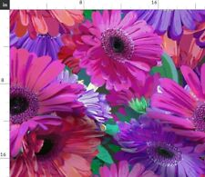 Pink Floral Pattern Vibrant Gerber Daisy Paint Fabric Printed by Spoonflower BTY