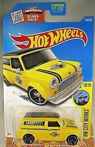 2016 Hot Wheels #175 City Works '67 AUSTIN MINI VAN Campbell's Garage Yellow