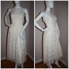 Vintage 70s Ivory Lace dress Mindy Malone romantic feminine XS XXS boho 30-23-34