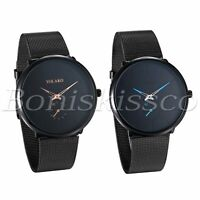 Men's Women's Fashion Black Independent Dial Mesh Band Analog Quartz Wrist Watch