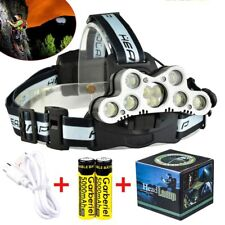 Super Bright 9-LED Headlamp Rechargeable 18650 HeadLight + 2PC Battery&USB Cable